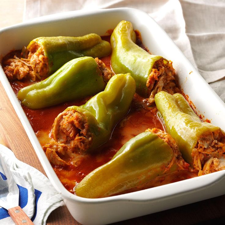 Chicken-Stuffed Cubanelle Peppers Recipe -Here's a different take on traditional stuffed peppers. I substituted chicken for the beef and used Cubanelle peppers in place of the green peppers that are usually featured in such a dish. -Ron Burlingame of Canton, Ohio