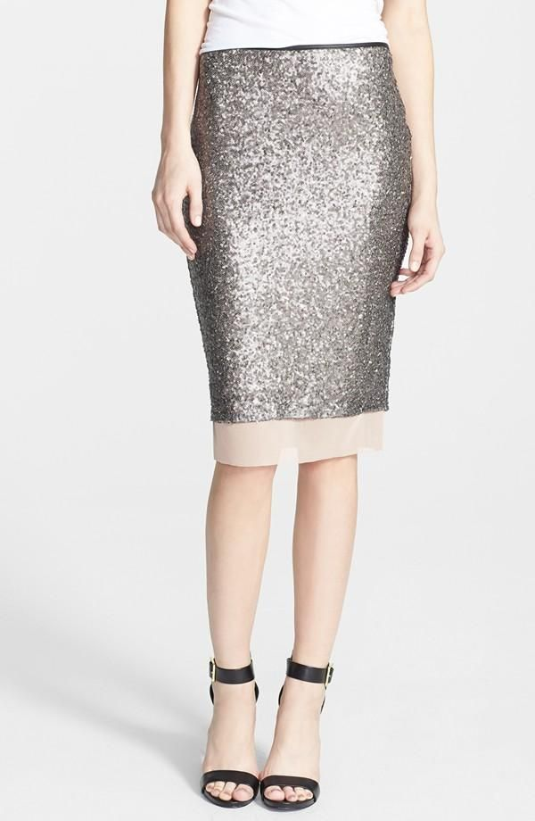 Silver, Shiny, Sequin Pencil Skirt