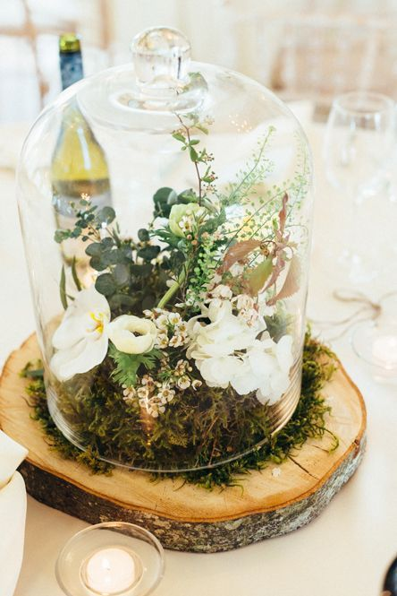 Botanical Rustic Bell Har Centrepiece on a wooden slab | Elegant Scottish Wedding At Logie Country House | Bride in Lace Suzanne Neville Forsythia Gown | Bridesmaids In Mint Green Ted Baker Dresses | Images From Donna Murray | http://www.rockmywedding.co.uk/rebecca-charlie/: