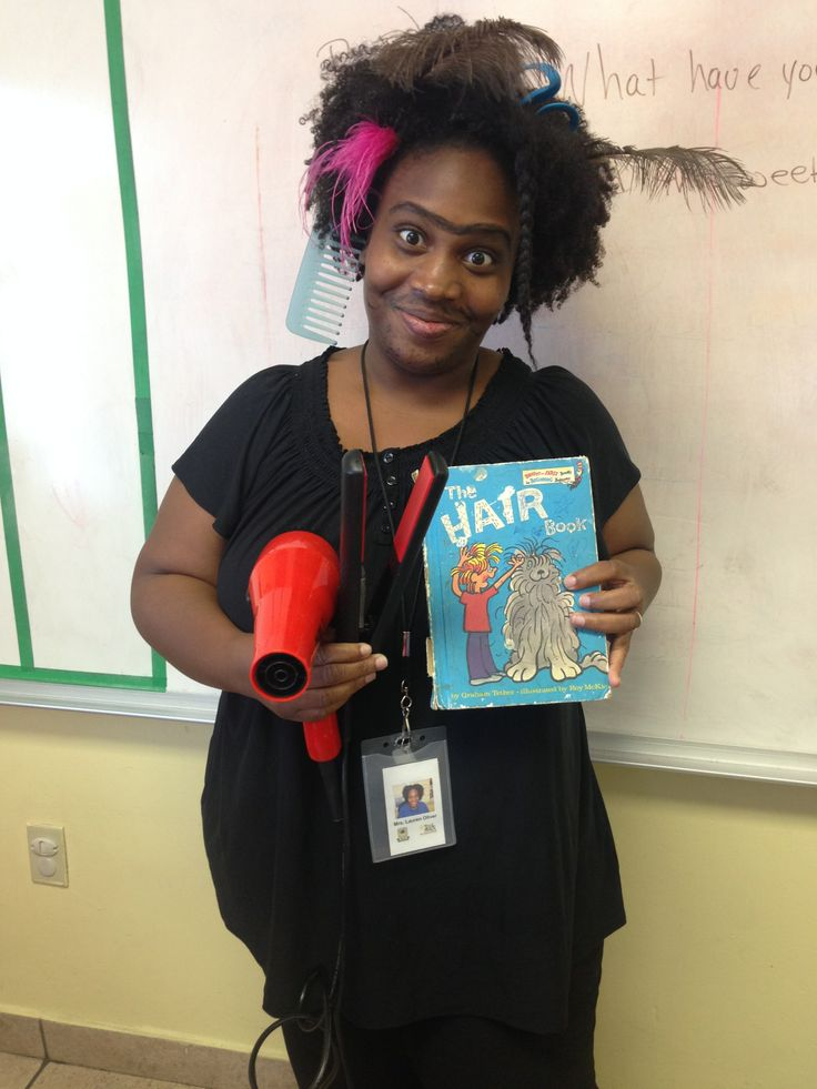 Mrs. Oliver dressed up like the Hair book.