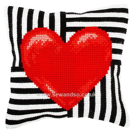 Hearts Cushion Front Chunky Cross Stitch Kit