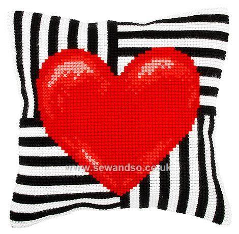 Hearts Cushion Front Chunky Cross Stitch Kit
