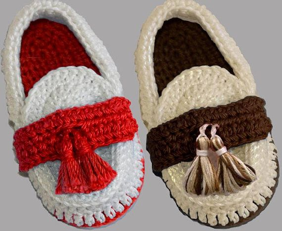 Crochet Baby Loafers di LeftyStitches su Etsy