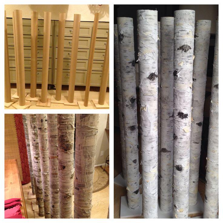 paper mache birch trees