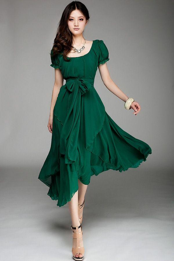 Irregular Hemline Bound Waist Short Sleeve Dress