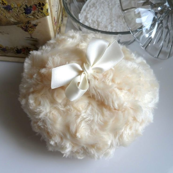 BODY POWDER PUFF  warm ivory  soft custard cream  by BonnyBubbles, $13.95