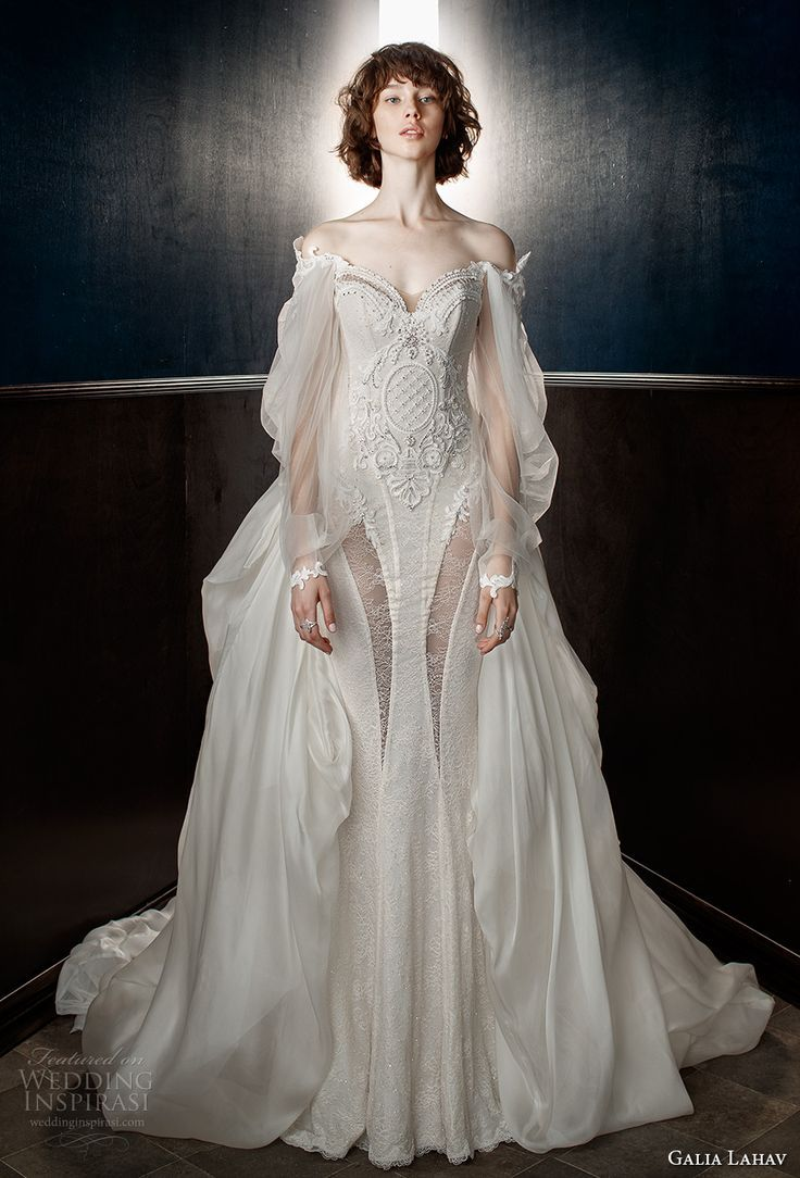 galia lahav spring 2018 bridal long bishop sleeves off the shoulder sweetheart neckline heavily embellished bodice vintage fit and flare wedding dress a  line overskirt chapel train (thelma) mv - Tap the pin if you love super heroes too! Cause guess what? you will LOVE these super hero fitness shirts!