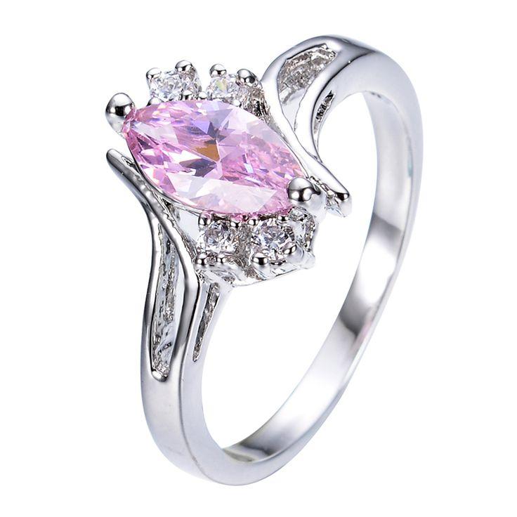 Маркиза розовый сапфир обручальное кольцо для женщин романтический ну вечеринку ювелирные изделия белый CZ золото заполненные обручальные кольца анель Aneis RW0458