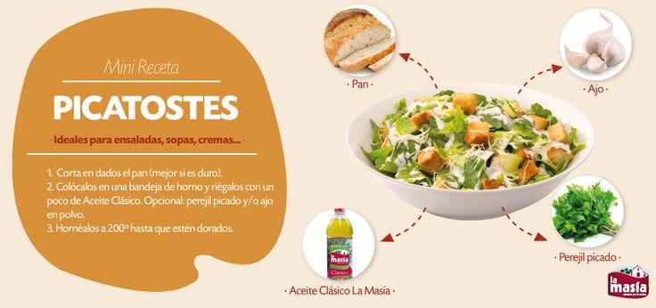 Hoy preparamos #picatostes. Una receta súper fácil, rápida y con la que podemos aprovechar el pan del día anterior. Añádelo a tus ensaladas, cremas y sopas. ¡Van geniales!