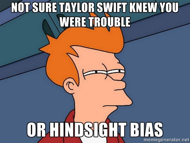"""Hindsight bias- the tendency to believe, before knowing the outcome, that you """"knew it all along"""""""