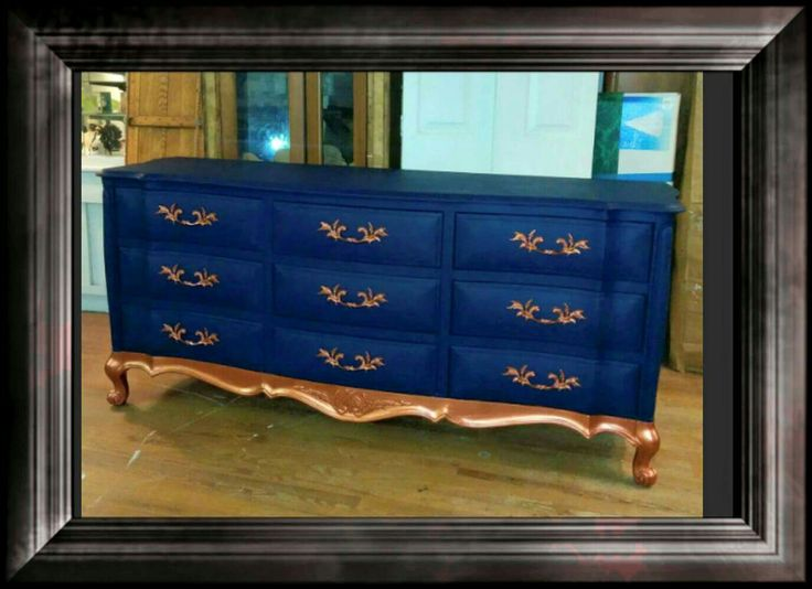 2 Sisteru0027s Design Made Over This Dresser With DIxie Belle Paint In Bunker Hill  Blue