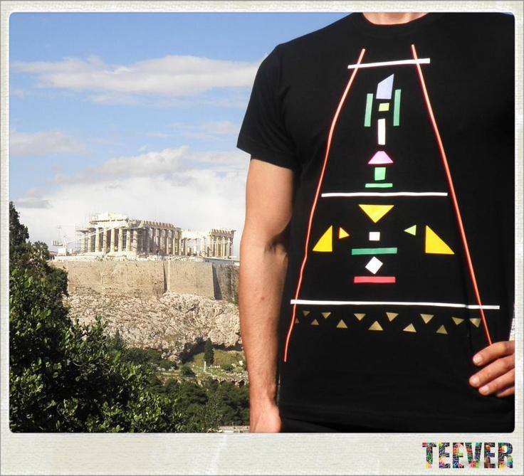 Cotton Black T-Shirt Design : Aztec