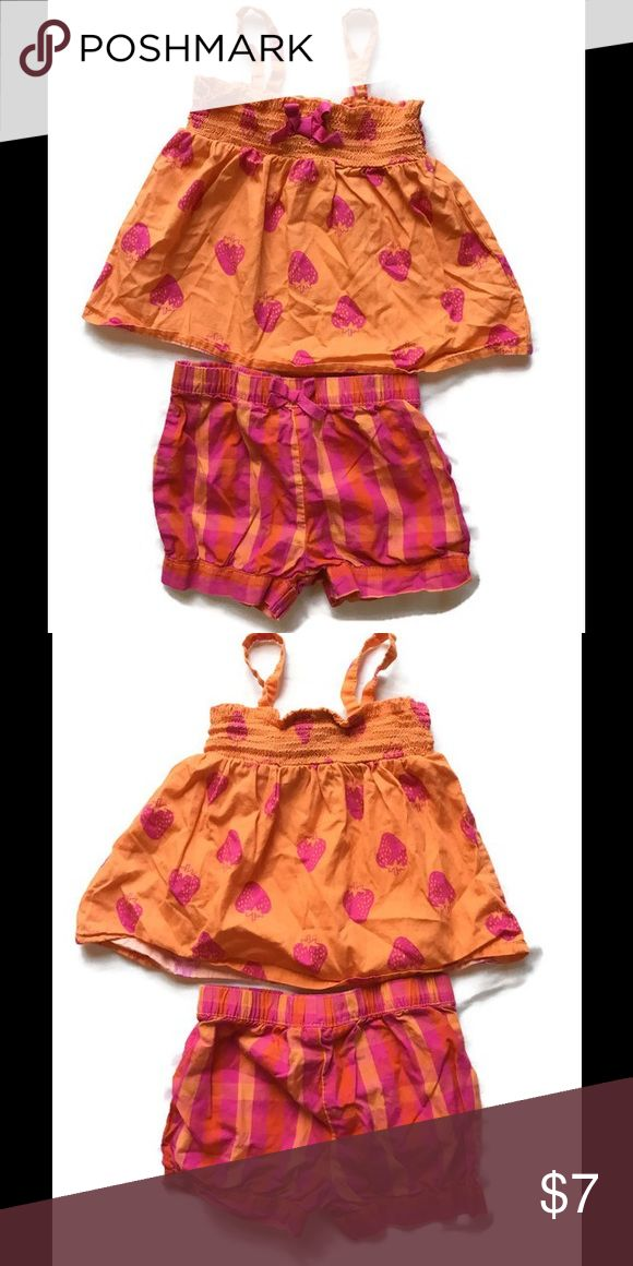 Koala Baby 12 Month Tank and Plaid Shorts Outfit Gently used Koala Baby 12 month outfit.  Orange tank top is sleevless with elastic around the chest and pink strawberry pattern.  Matching shorts are pink, orange and red plaid and have an elastic waist.  Beautiful colors for warm weather!  Very minimal wear; maybe washed once or twice. Koala Baby Matching Sets