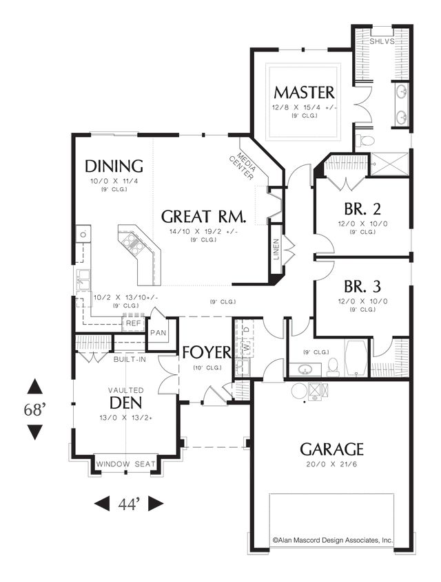 Mascord House Plan 1103ba Craftsman Style Plan Plan And