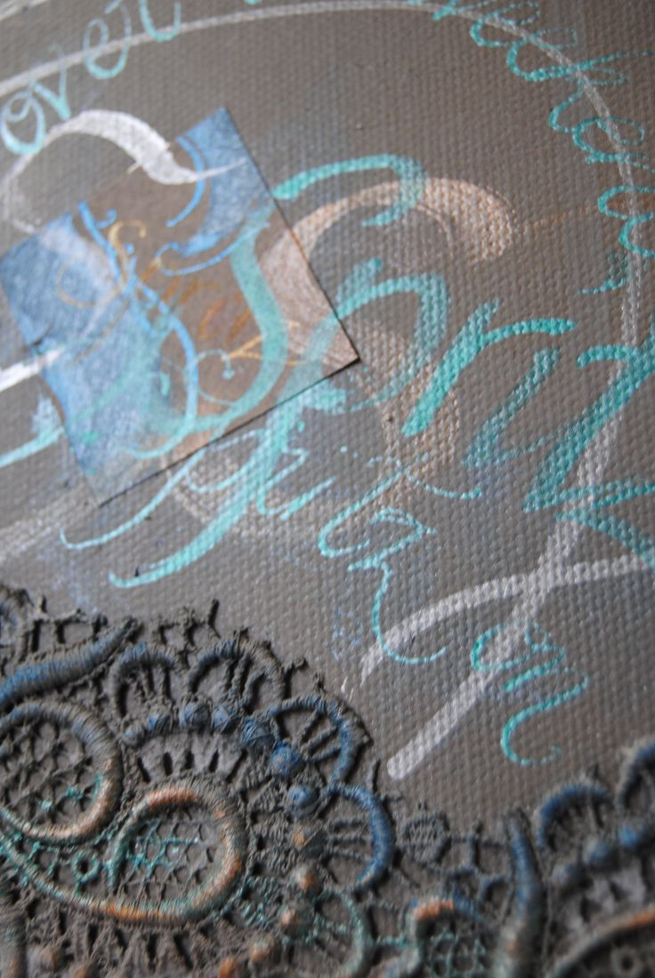 Close up detail with guipure lace and calligraphy on canvas. By Judith Ann www.beautifulwriting.com.au