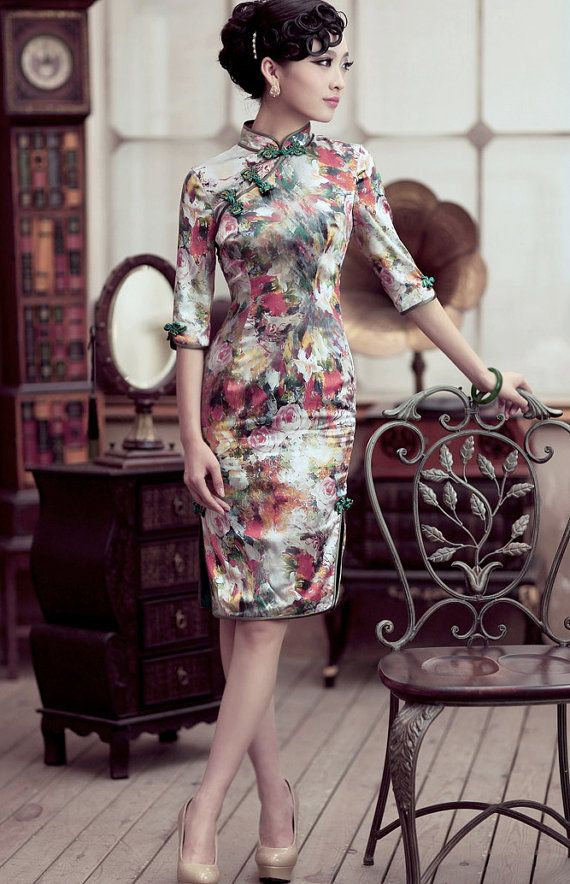 Silk Dress Wedding Dress Pencil Dress with Oil Painting Floral Cheongsam Chinese…