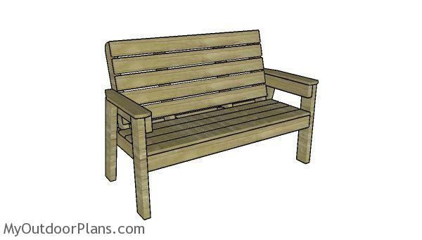 Large Outdoor Bench Plans | MyOutdoorPlans | Free Woodworking Plans and Projects, DIY Shed, Wooden Playhouse, Pergola, Bbq #DIYShedLarge