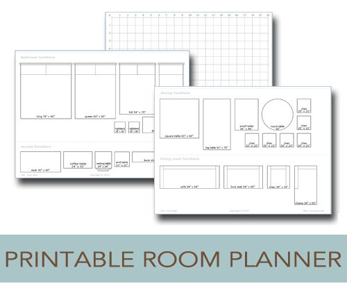 Printable room planner to help you plan the layout of your room....before you start pushing and pulling the furniture into spaces where it won't fit!