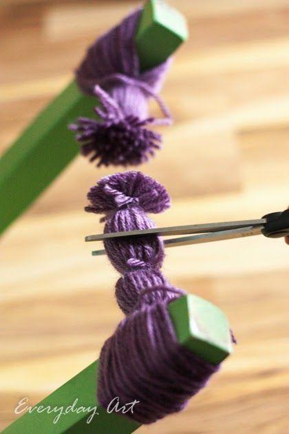 How to make yarn pom poms by Everyday Art