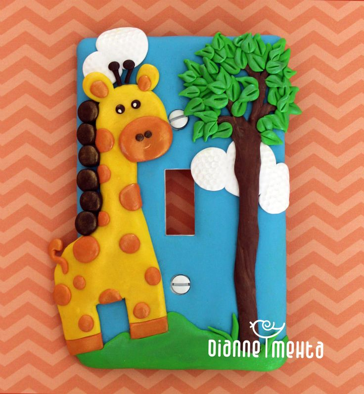 Single Decorative Light Switch Cover, Wall Plate, Children's Nursery, Playroom, Bedroom, Giraffe, Animals, Zoo, Jungle Theme, Home Decor by DianneMehta on Etsy