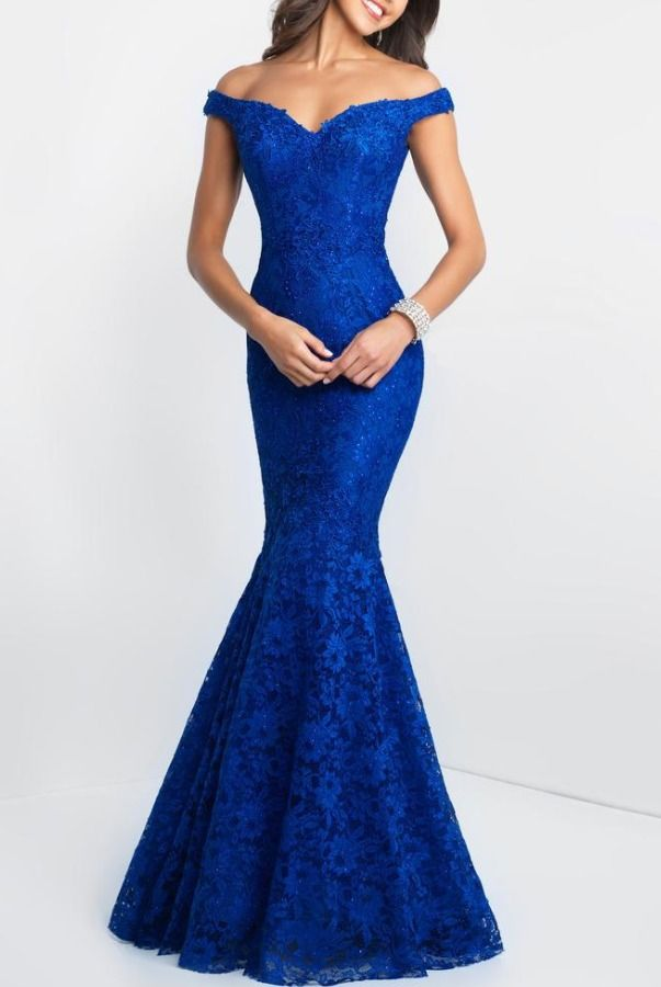 bedf49fbb2f0 Blush Off-Shoulder Mermaid Gown In Blue