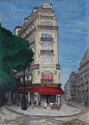 Peinture du café Francoeur par Dagmar Gerlach - Dessine moi Paris
