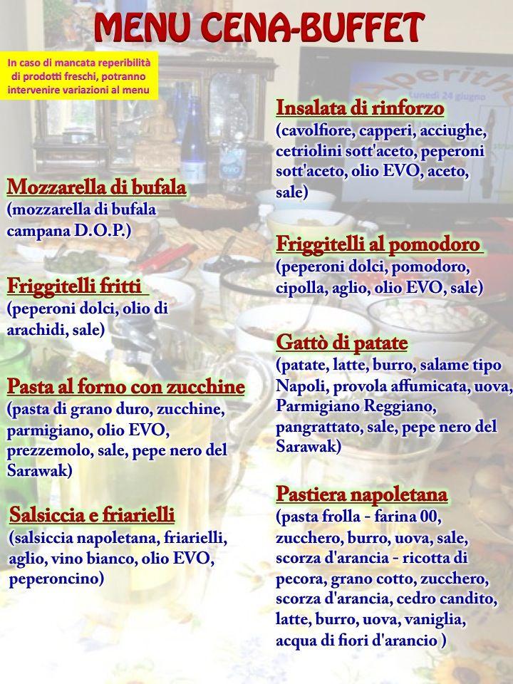 menu durante l'evento della Compagnia del the dedicato a Alberto Oliva