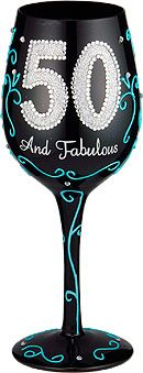 95 and Sunny's 50 & Fabulous Hand Painted Wine Glasses have age pride all over. You are not simply 50; You are 50 and fabulous. Is there any better evidence of a life well lived?