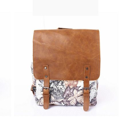 NEW 2016 Superior Quality Genuine Leather Crazy Horse Casual Buckle Accent Backpack 7 Colors