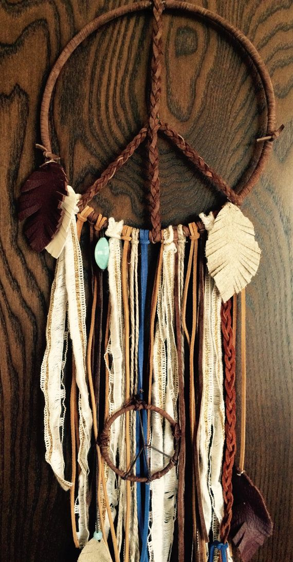 Leather Peace Sign with Mini Dream Catcher // by 54UniqueBoutique