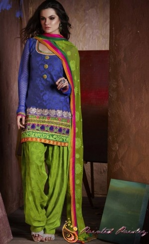 Antara - Blue and Green Patiala Style Salwar Suit