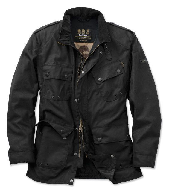Mens Barbour Saxony Waxed Cotton Jacket L Nice Black Motorcycle Style $425