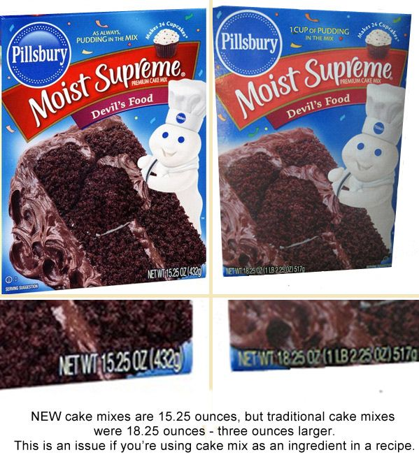"""Cake Mix """"Upsizer"""" - Many boxed mixes have decreased in size from  18.25 ounces to 15.25 ounces. This """"upsizer"""" mix makes up the difference. Good to know for recipes that call for boxed cake mix!"""