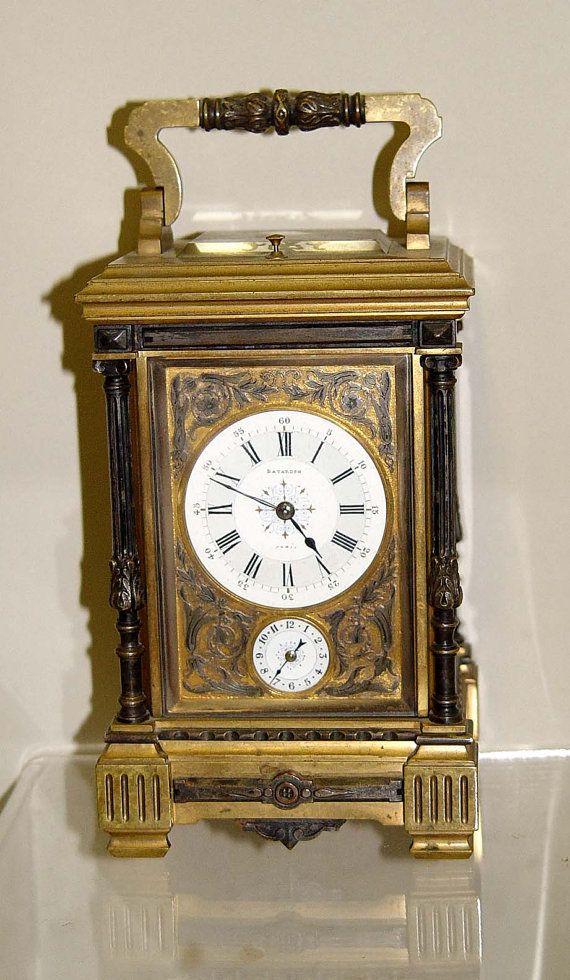 19c French Repeater Carriage Clock Batardon Paris 1883 Bronze Enamel France