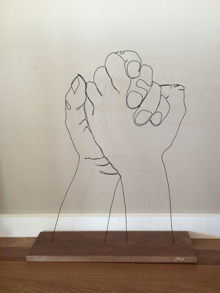 Wire art. Wire sculpture. Wire line drawing. Lend a hand