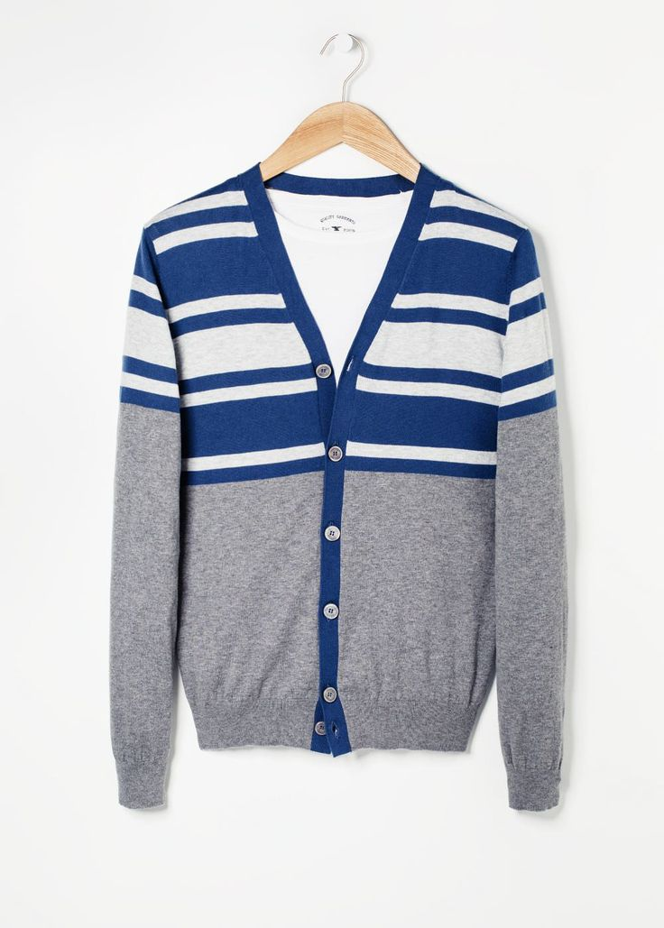 Cardigan cashmere cotone righe Horizontal stripes to structure your bust and widen shoulders