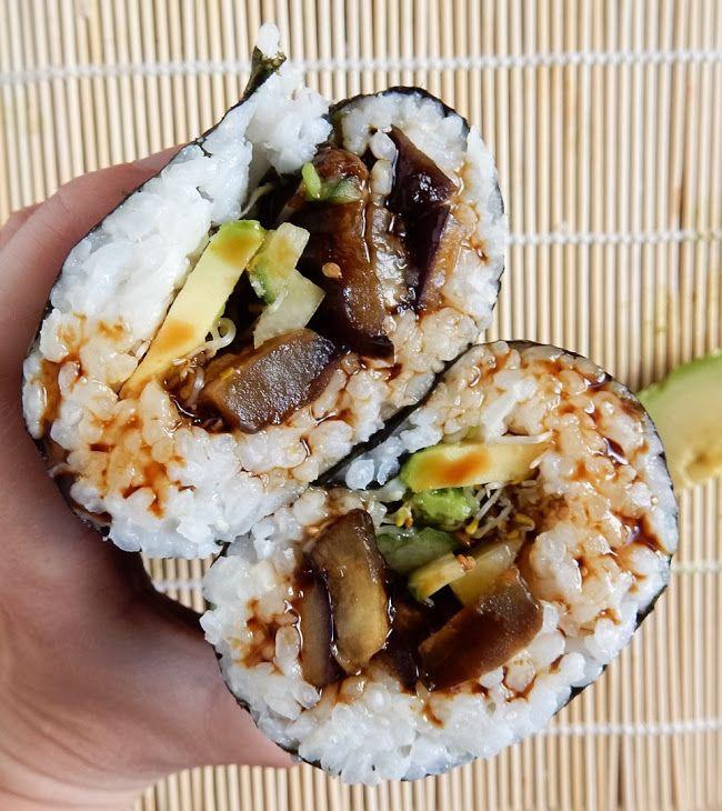 Teriyaki Eggplant Sushi Burrito Recipe Main Dishes, Lunch with eggplant, soy sauce, agave nectar, water, vegetable stock powder, corn flour, garlic, onions, sushi rice, sushi vinegar, sushi rice, seaweed, eggplant, avocado, cucumber