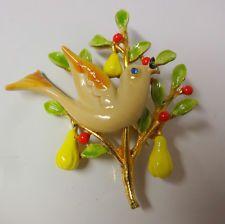Vintage Signed ART Pear Bird Christmas Tree Enamel Blue Rhinestone Pin Brooch | Vintage signs ...
