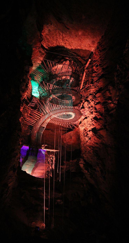 Bounce Below in Blaenau Ffestiniog, North Wales. Huge Trampolines suspended in old mines.