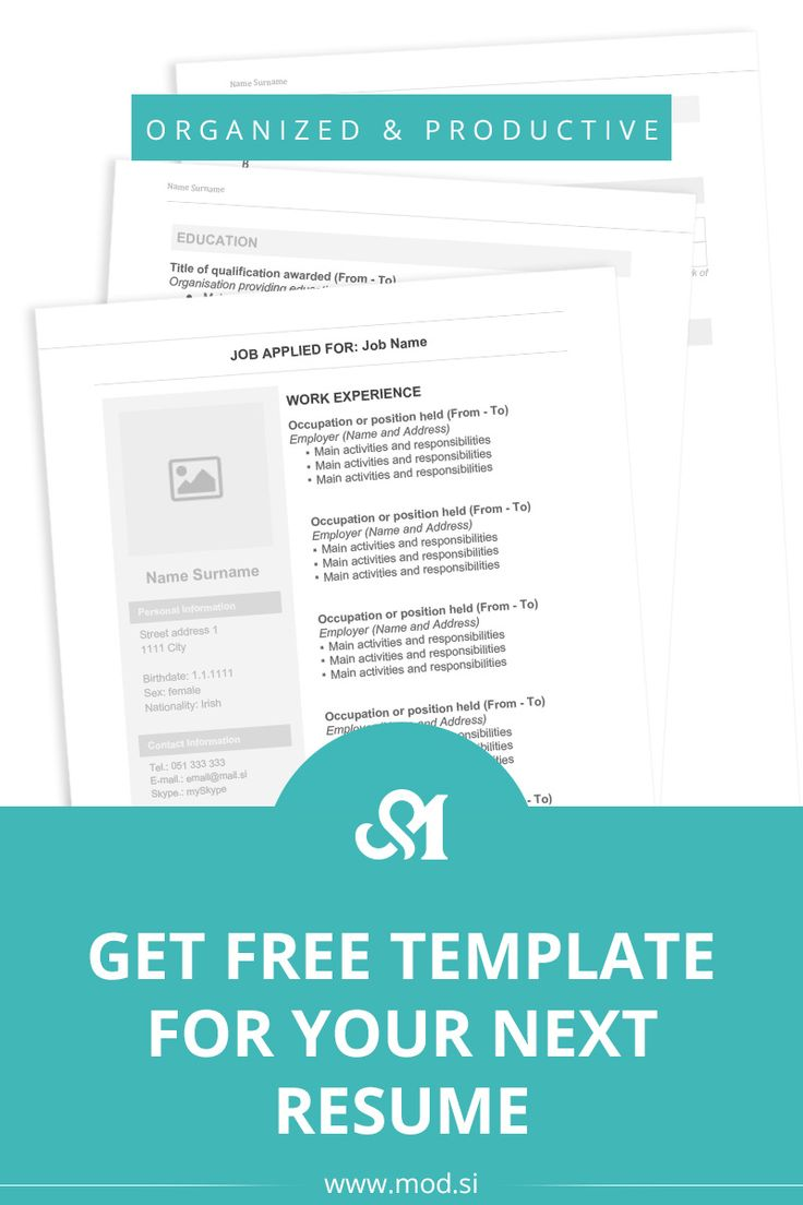 Get Free Template For Your Next Resume MOD Resume