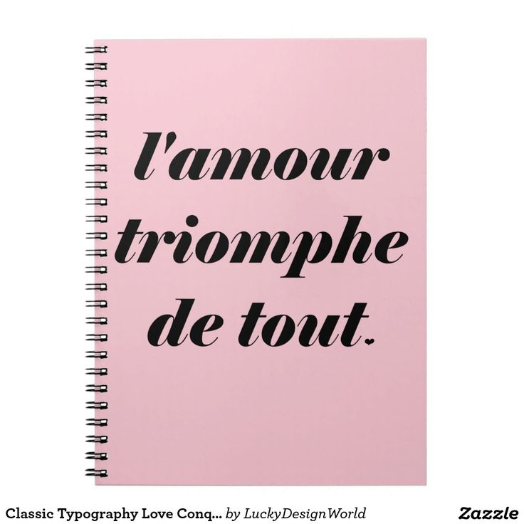 Classic Typography Love Conquers All, Amour Quote Notebook. with pale pink background.