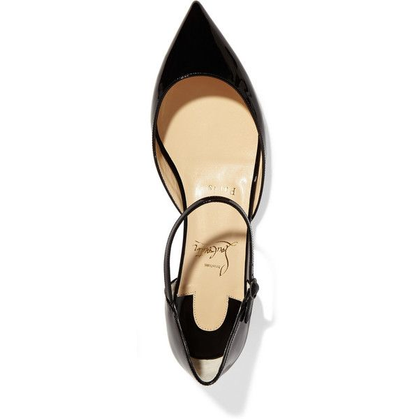 Christian Louboutin Riverina patent-leather point-toe flats ($580) ❤ liked on Polyvore featuring shoes, flats, ankle tie flats, flat pumps, pointed-toe ankle-strap flats, patent flats and patent leather flats