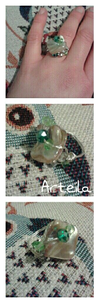 Green stones Rings Diy craft by ARTEILA