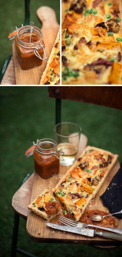 Cauliflower, Pumpkin & Caramelized Onion Tart