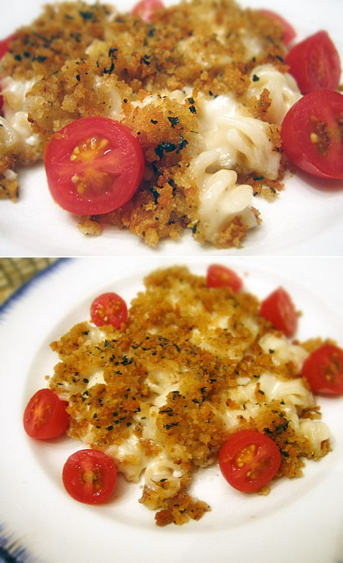 So good! Best gf, cf mac and cheese- baked with #glutenfree breadcrumb topping.