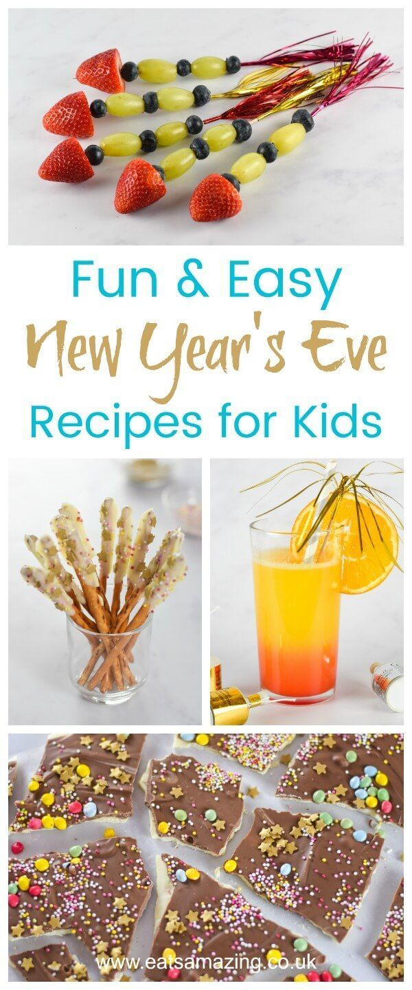 Celebrate the New Year in style with these easy New Years Eve recipes for kids - fun food for kids from Eats Amazing UK #newyearseve #newyears #kidsfood #funfood #partyfood #celebration #celebrate #rocket rks #mocktail #treats #familyfood #rocket #foodart #edibleart #ediblecraft #easyrecipes #cookingwithkids #holidayrecipes #holidayentertaining