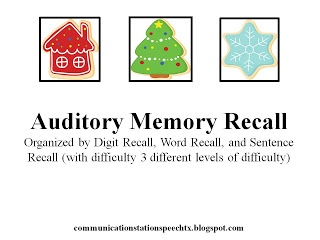 FREEBIE: Auditory Memory Recall from Communication Station: Speech Therapy PLLC