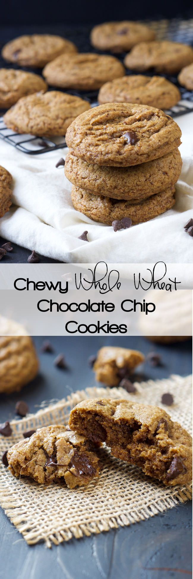 Whole Wheat Chocolate Chip Cookie, Coconut Oil, Healthy, Easy, Chewy, No Butter, Best, Soft, Baking, Desserts, Dairy Free