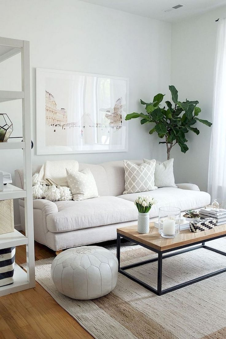 Light White Bright Living Room Design Small Apartment Decorating