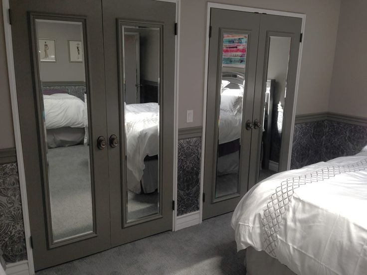 Closet Door Ideas: Adding slim full-length mirrors to flat closet doors and trimming them out with molding is a great way to bring a contemporary vibe to a room and make it seem larger. Description from pinterest.com. I searched for this on bing.com/images